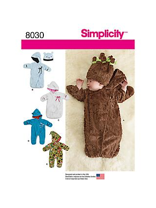Simplicity Fleece Baby Buntings Sewing Pattern, 8030