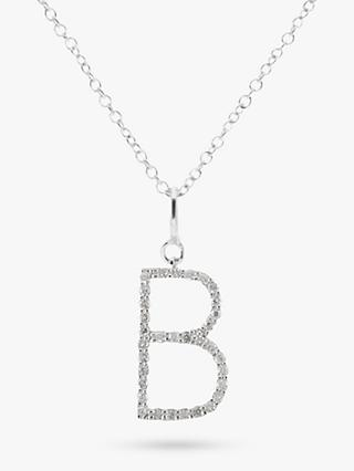 E.W Adams 9ct White Gold Diamond Letter Pendant