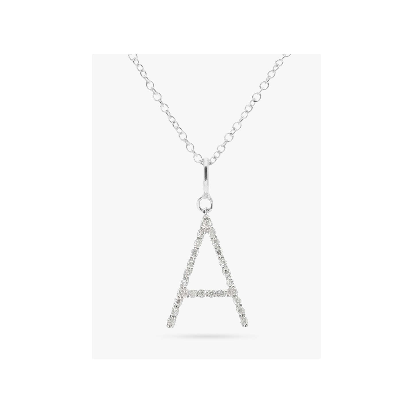 Ewa 9ct white gold diamond letter pendant at john lewis buyewa adams 9ct white gold diamond letter pendant a online at johnlewis mozeypictures