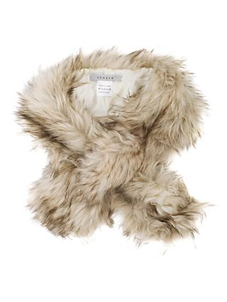 Chesca Faux Fur Scarf, Cream