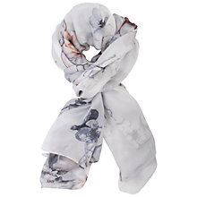 Buy Chesca Soft Floral Print Silk Scarf, Silver/White Online at johnlewis.com