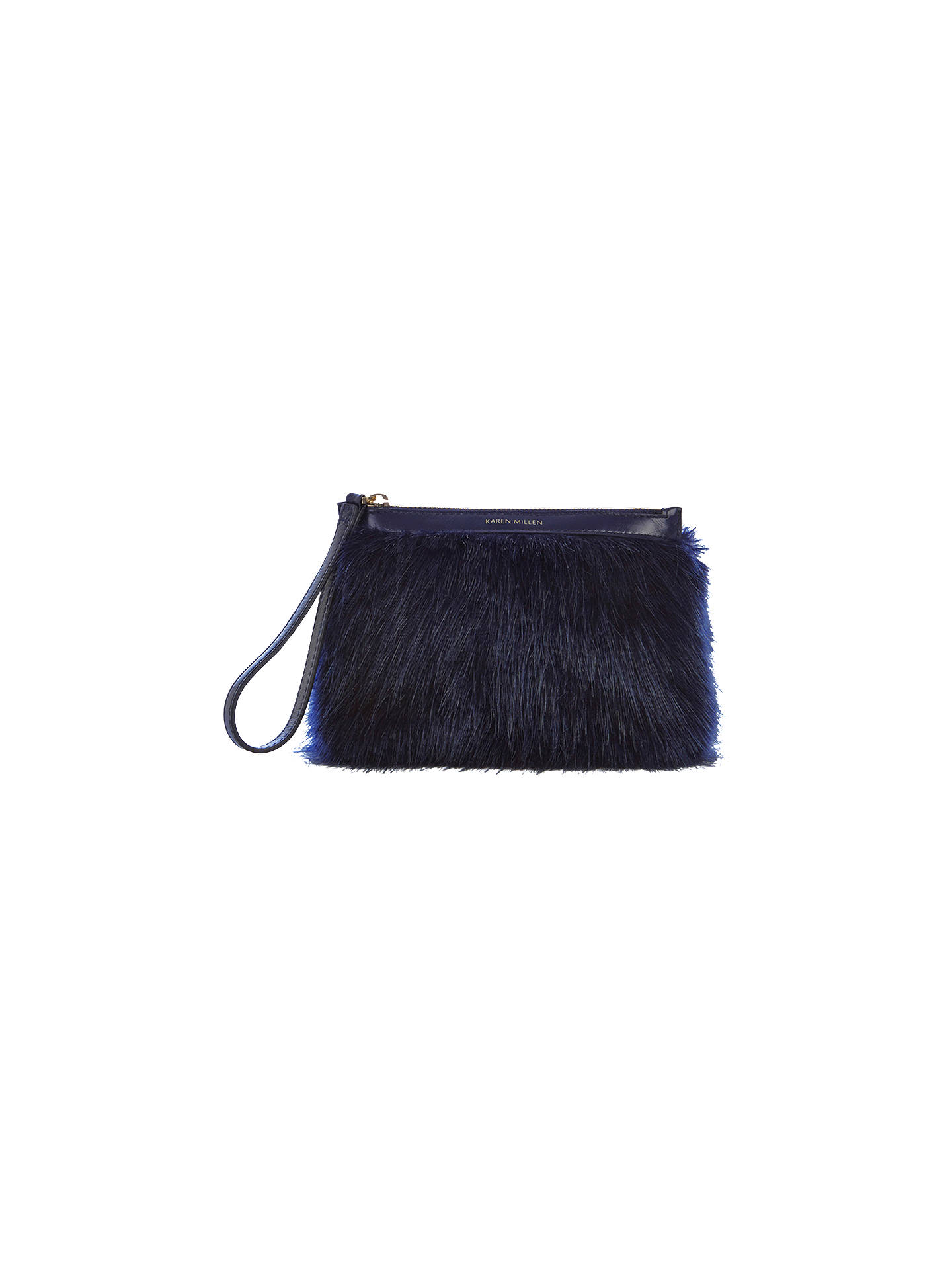 ffb49bc4dd5 Buy Karen Millen Faux Fur Pochette Clutch Bag, Blue Online at johnlewis.com  ...