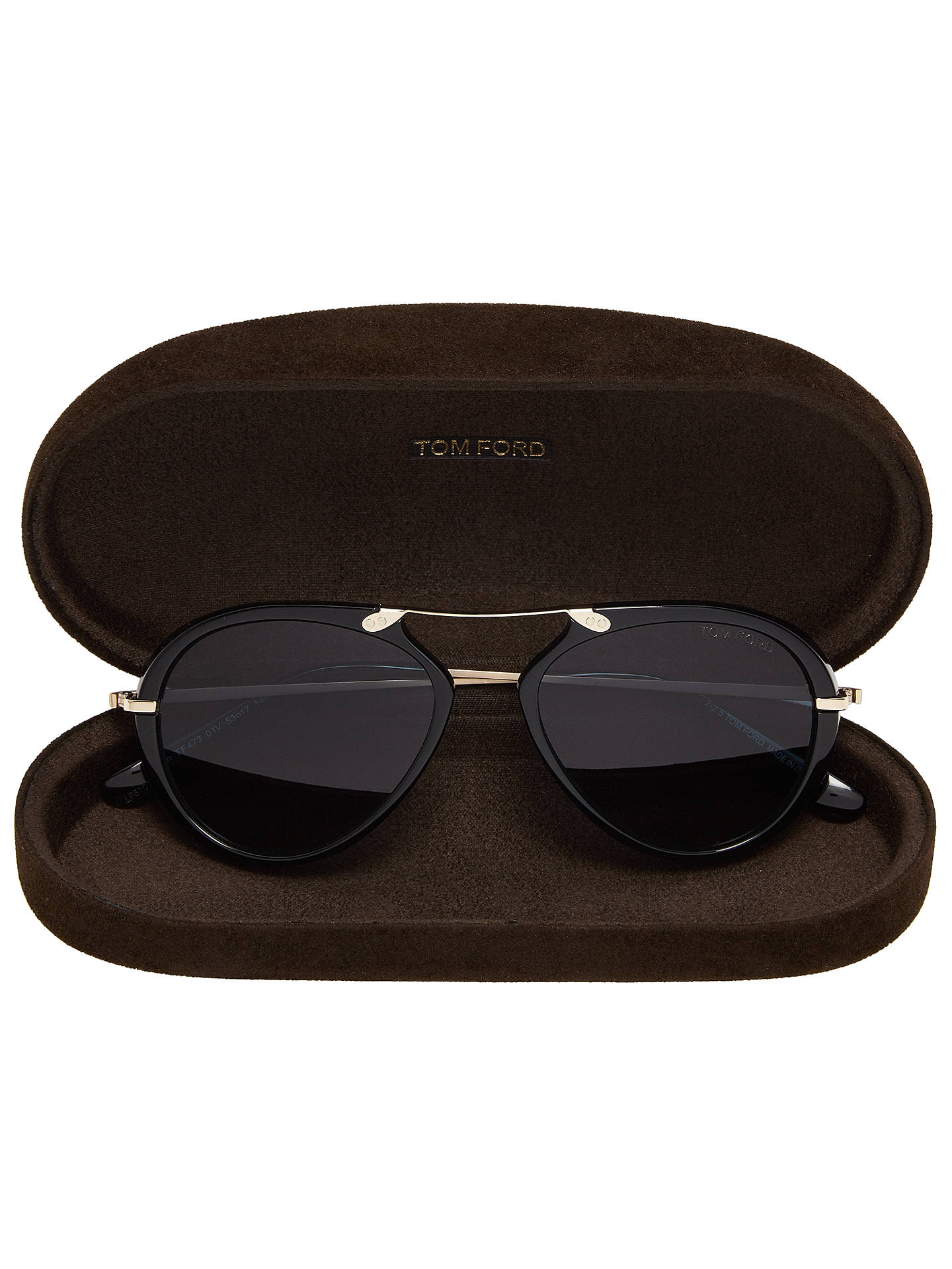 Buy TOM FORD FT0473 Aaron Aviator Sunglasses, Black/Blue Online at johnlewis.com