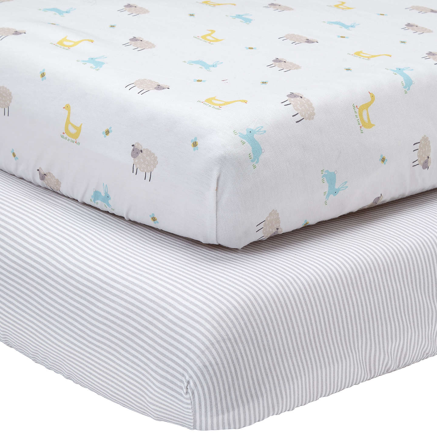 BuyJohn Lewis Farmyard And Stripe Fitted Cotbed Sheet, Pack Of 2,  White/Grey ...