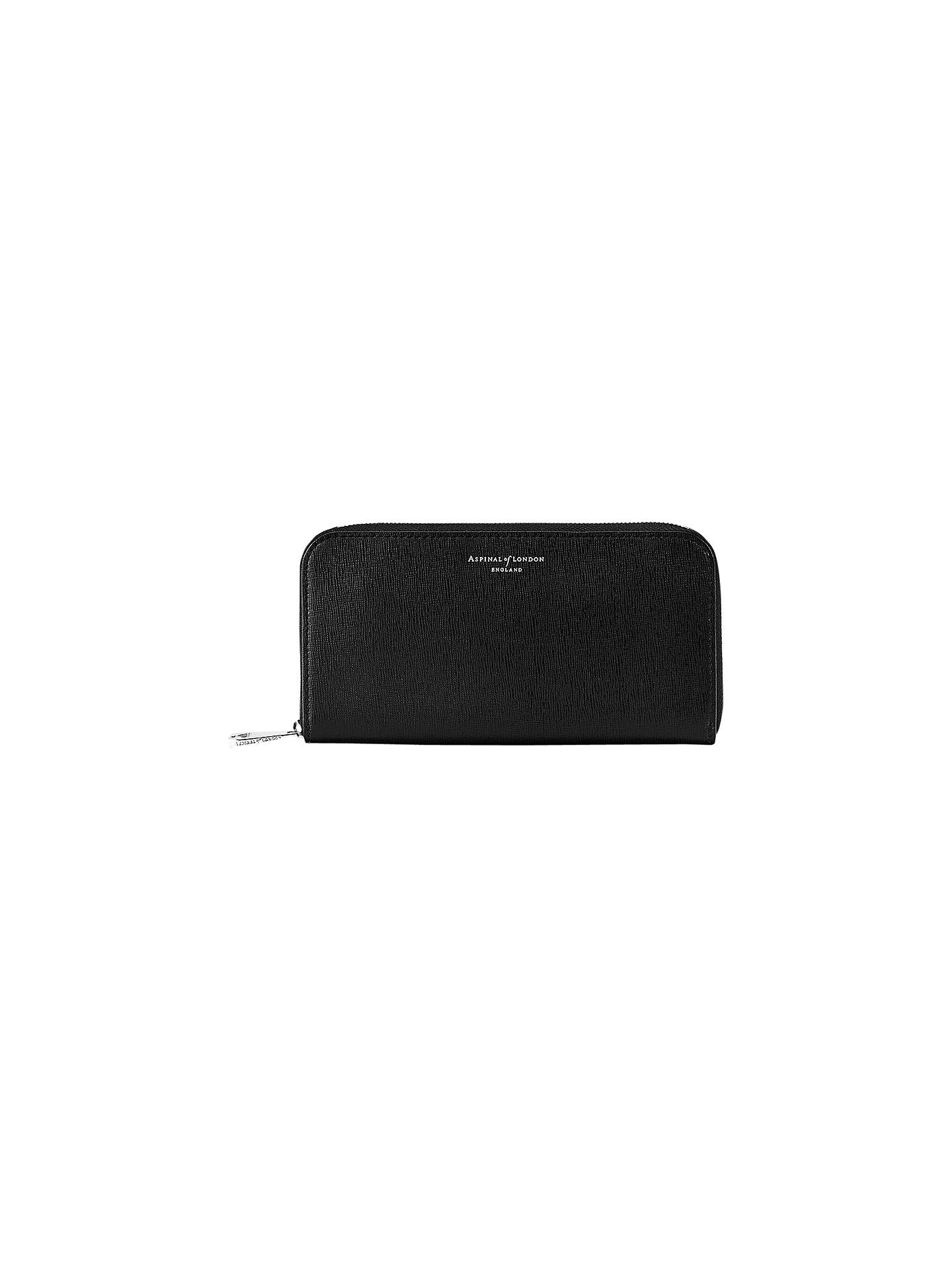 Buy Aspinal of London Leather Continental Clutch Purse, Black Online at johnlewis.com