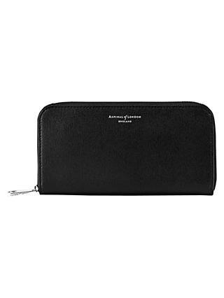 Aspinal of London Leather Continental Clutch Purse, Black