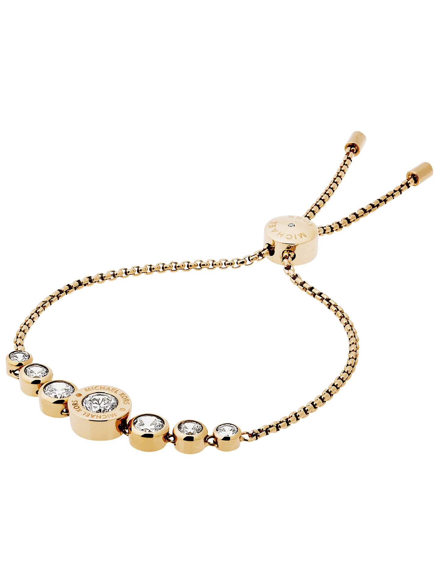 Michael Kors Logo Crystal Adjule Bracelet Gold Online At Johnlewis