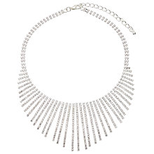 Buy John Lewis Cubic Zirconia Fan Necklace, Silver Online at johnlewis.com