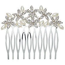 Buy John Lewis Faux Pearl and Cubic Zirconia Small Comb, Silver Online at johnlewis.com