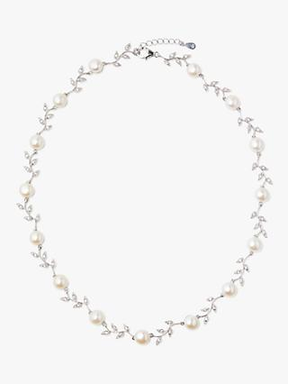 Lido Pearls Leaf Pearl Necklace, Silver/White