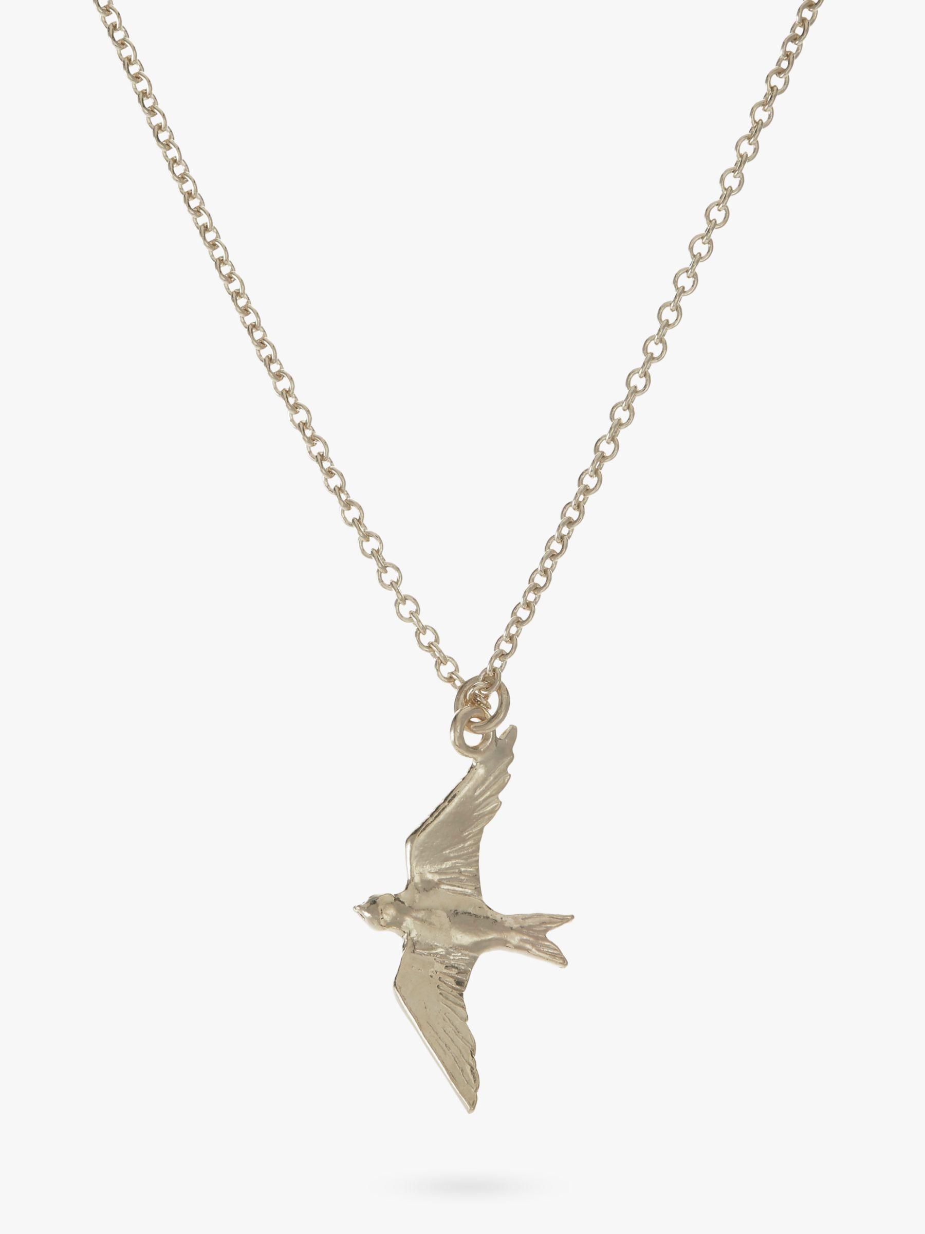 Alex Monroe Alex Monroe Flying Swallow Pendant Necklace, Silver