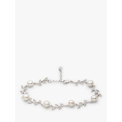 Image of Lido Leaf Pearl Bracelet, Silver/White