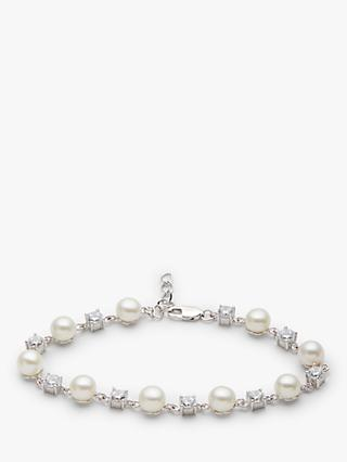 Lido Pearl and Cubic Zirconia Spacer Bracelet, Silver/White