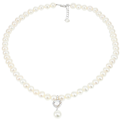 Product photo of Lido pearls heart drop pearl necklace white