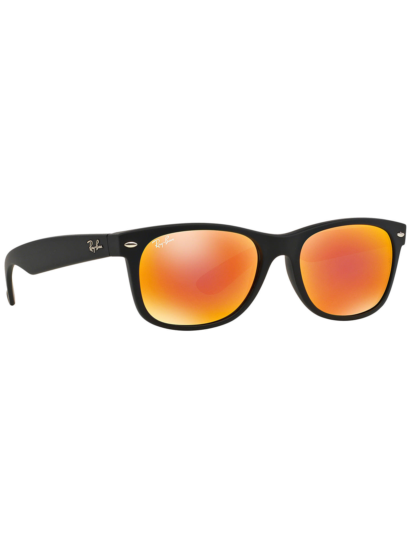 Buy Ray-Ban RB2132 New Wayfarer Sunglasses, Matte Black/Mirror Orange Online at johnlewis.com