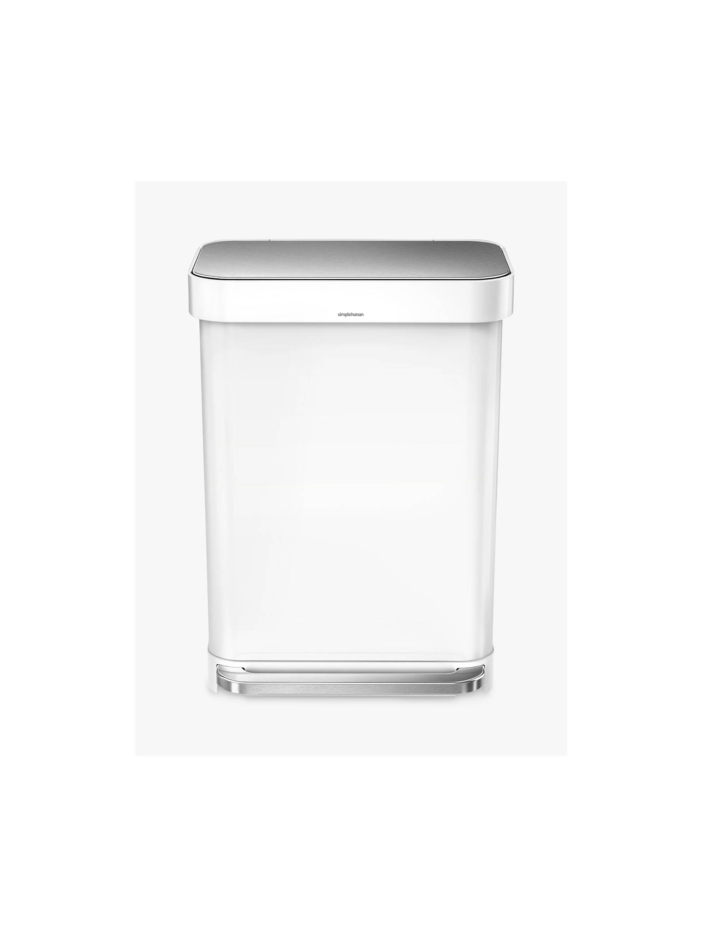 Buy simplehuman Rectangular Pedal Bin With Liner Pocket, White / Steel, 55L Online at johnlewis.com