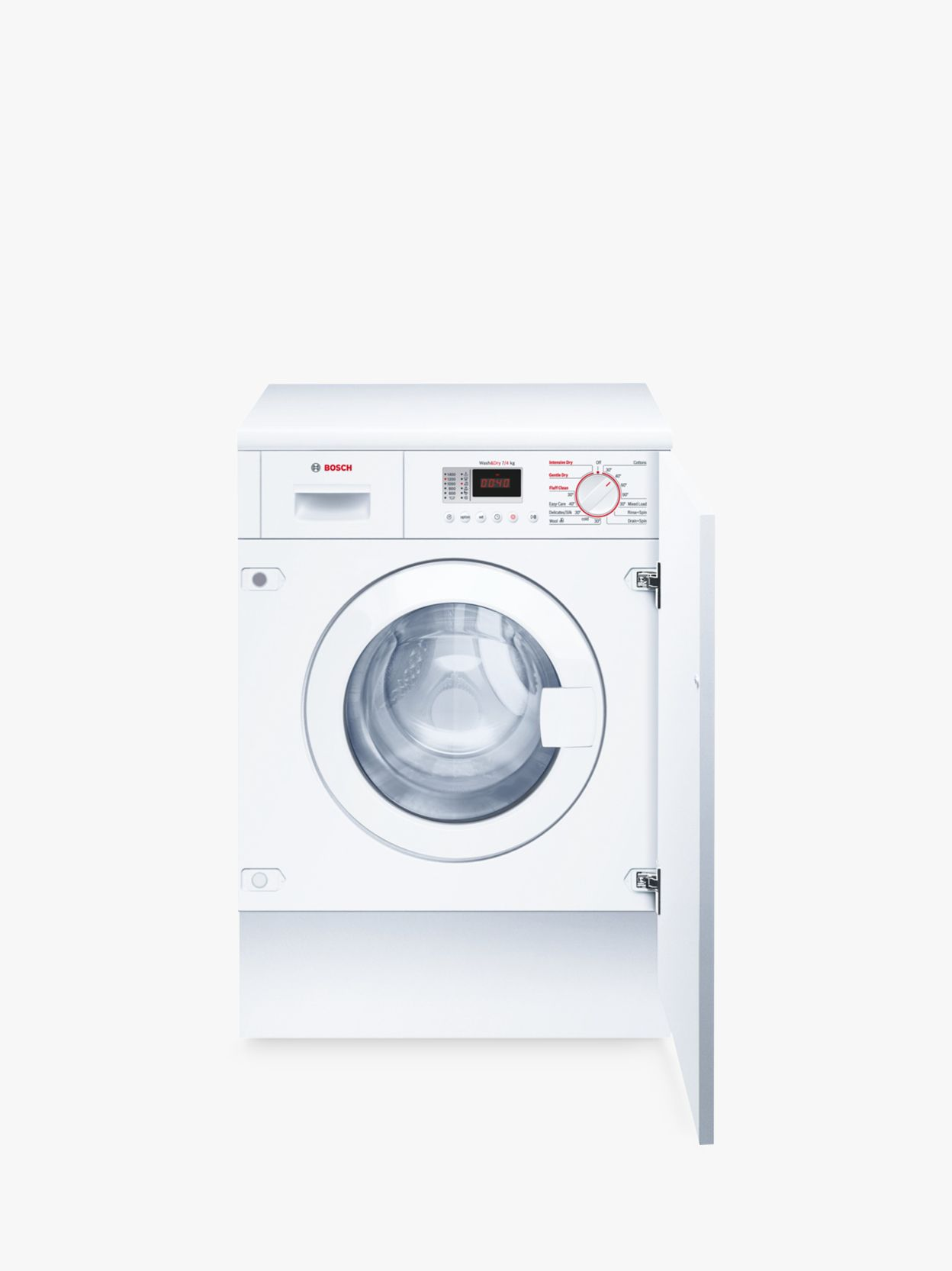 Bosch Bosch WKD28351GB Integrated Washer Dryer, 7kg Wash/4kg Dry Load, B Energy Rating, 1400rpm Spin, White