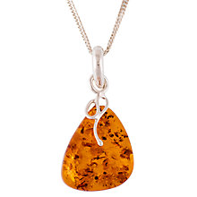 Buy Be-Jewelled Sterling Silver Amber Pendant, Silver/Amber Online at johnlewis.com