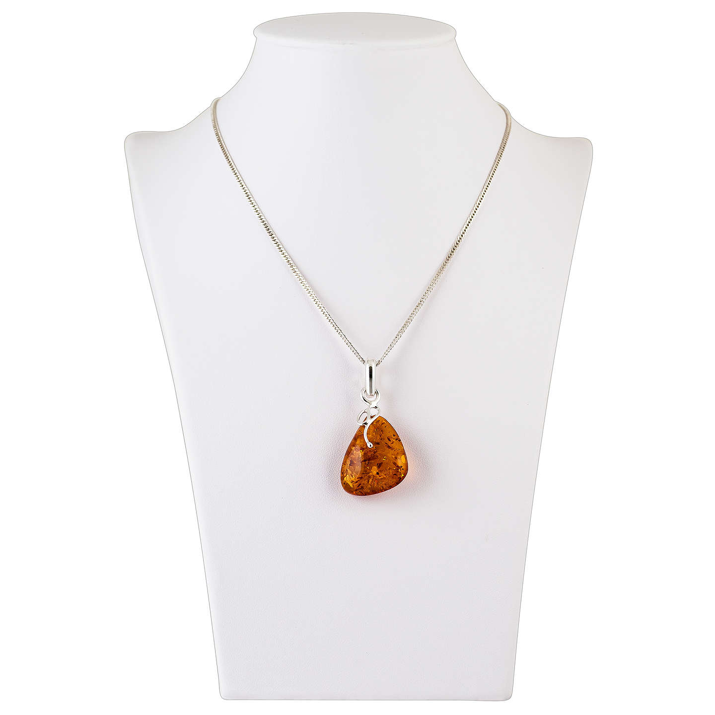BuyBe-Jewelled Sterling Silver Amber Pendant, Silver/Amber Online at johnlewis.com