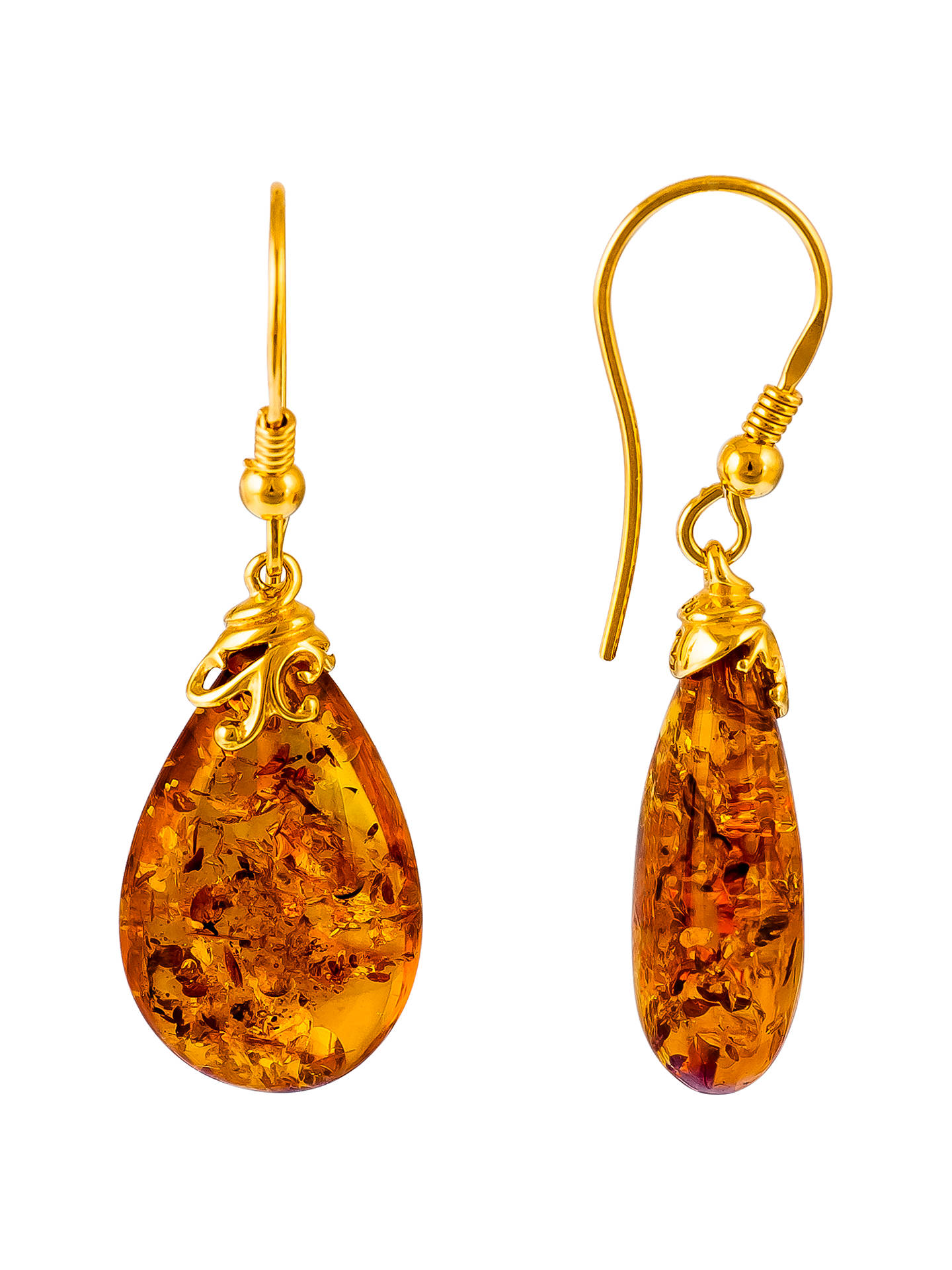BuyBe-Jewelled Gold Plated Sterling Silver Amber Drop Earrings, Amber Online at johnlewis.com
