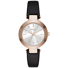 Buy DKNY NY2458 Women's Stanhope Leather Strap Watch, Black/Rose Gold Online at johnlewis.com