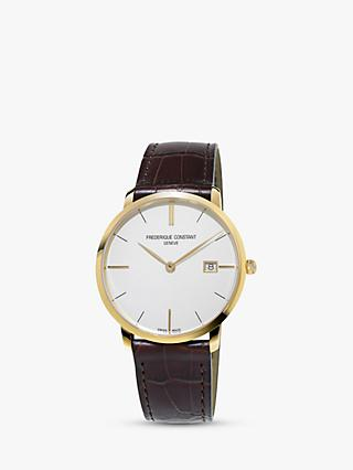 Frederique Constant FC-220V5S5 Men's Slimline Date Leather Strap Watch, Brown/White