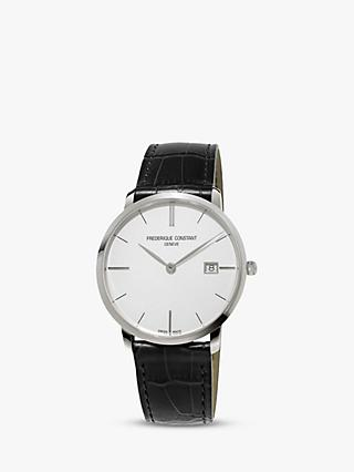 Frederique Constant FC-220S5S6 Men's Slimline Date Leather Strap Watch, Black/White