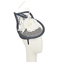 Buy John Lewis Faye Pillbox Fascinator, Navy/Cream Online at johnlewis.com