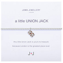 Buy Joma A Little Union Jack Enamel Charm Bracelet, Silver Online at johnlewis.com