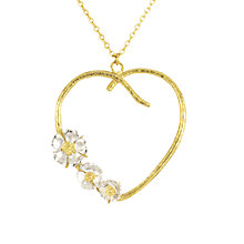 Buy Alex Monroe Heart and Flower Pendant Necklace, Gold/Silver Online at johnlewis.com
