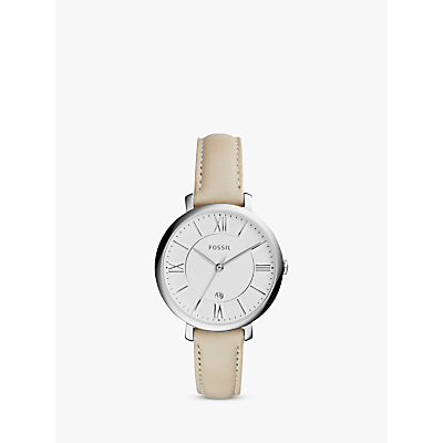 Fossil ES3793 Women's Jacqueline Date Leather Strap Watch, Cream/White