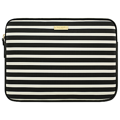 kate spade new york Stripe Monochrome 13 Laptop Sleeve, Black/White