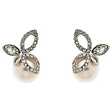 Buy Finesse Crystal and Pearl Leaf Stud Earrings, 10mm Online at johnlewis.com
