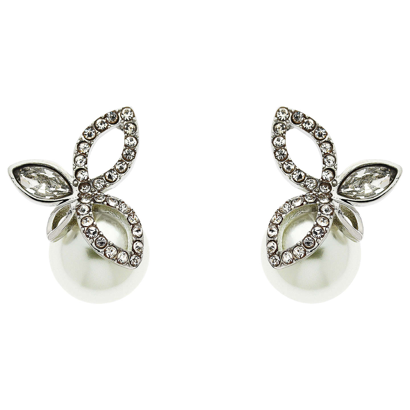 BuyFinesse Crystal and Pearl Leaf Stud Earrings, White, 10mm Online at johnlewis.com