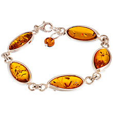 Buy Be-Jewelled Marquise Style Baltic Amber and Sterling Silver Bracelet, Silver/Amber Online at johnlewis.com