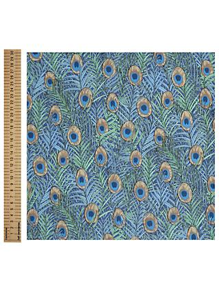 John Lewis & Partners Peacock Print Fabric, Blue