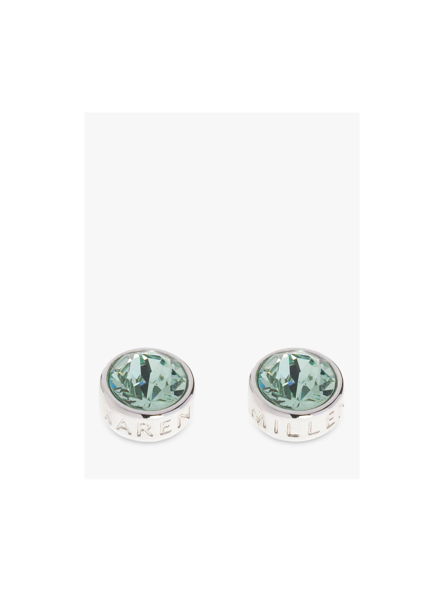 Buy Karen Millen Logo Stud Earrings, Silver/Mint Online at johnlewis.com