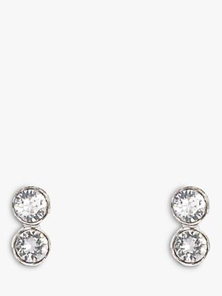 Karen Millen Tiny Drop Swarovski Crystal Earrings, Silver