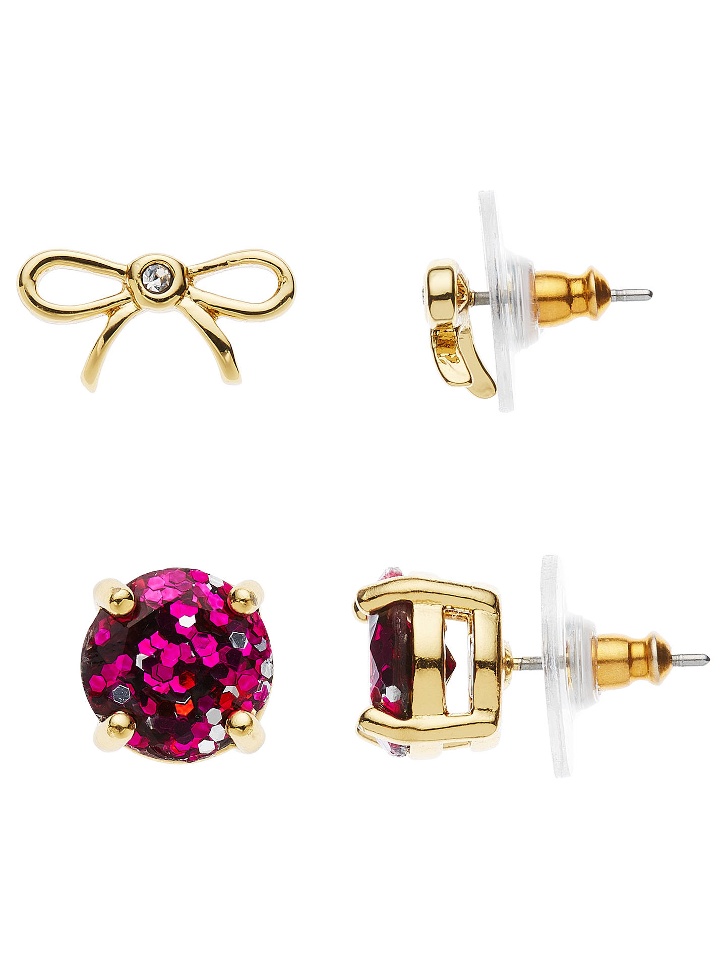 kate spade new york Bow and Glitter Stud Earrings Set, Gold/Pink at ...