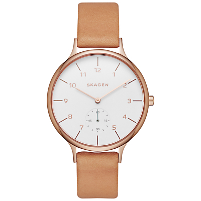 Skagen SKW2405 Women's Anita Leather Strap Watch, Tan/White
