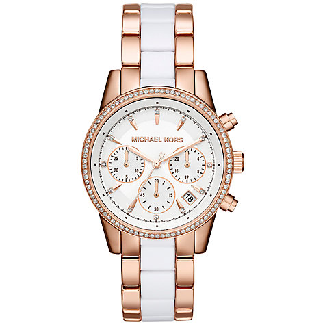 Michael Kors Rose Gold Watch With Clear Strap