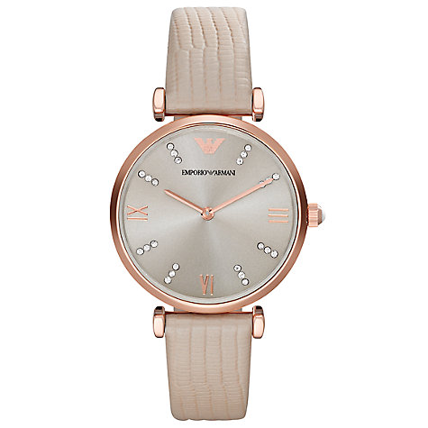 Buy Emporio Armani AR1681 Women's Leather Strap Watch, Cream/Silver Online at johnlewis.com