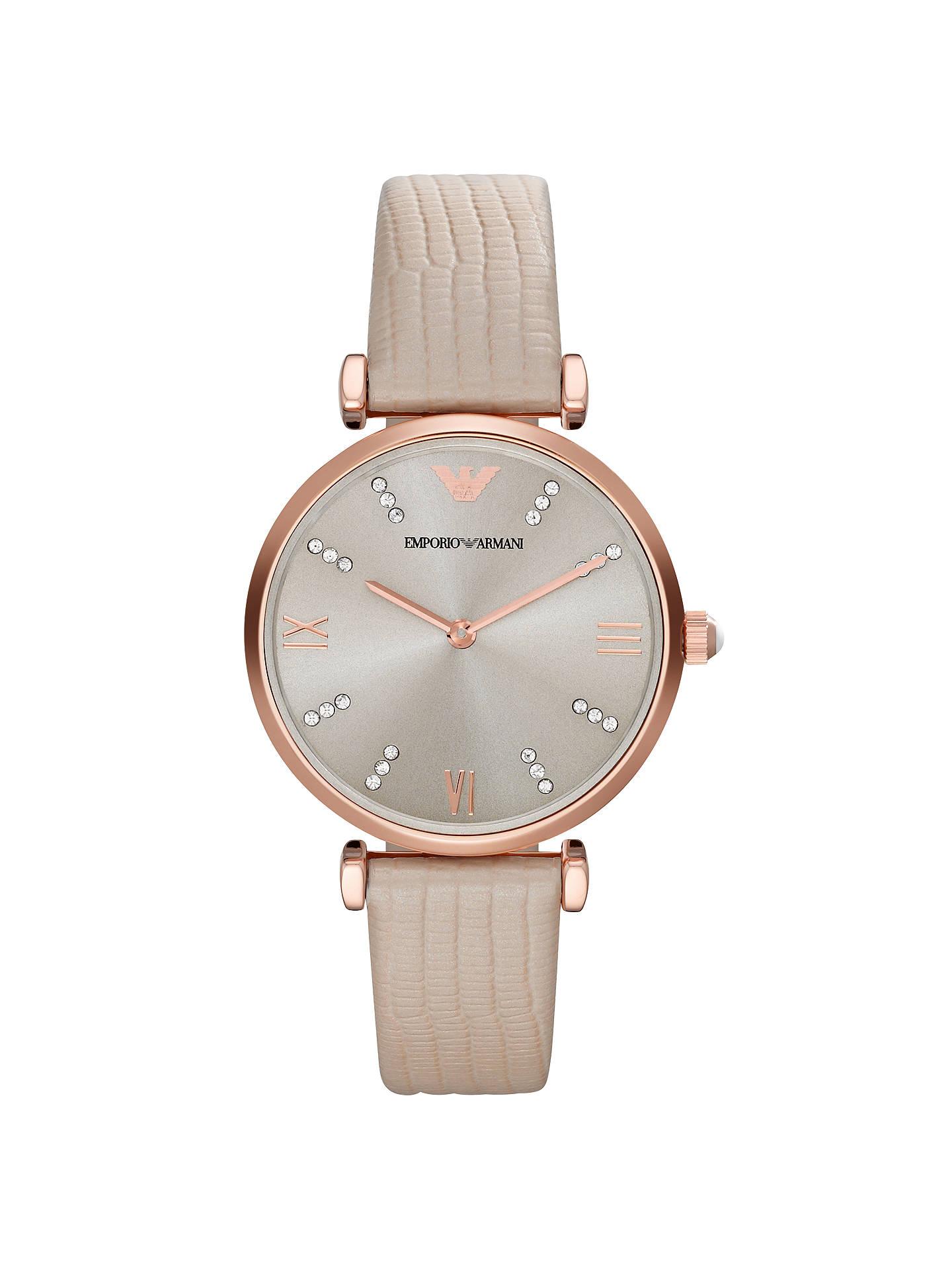 53349b28c7 Emporio Armani AR1681 Women's Leather Strap Watch, Cream/Silver