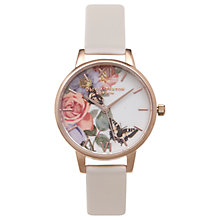 Buy Olivia Burton OB15FS68 Women's Enchanted Garden Leather Strap Watch, Blush/Multi Online at johnlewis.com