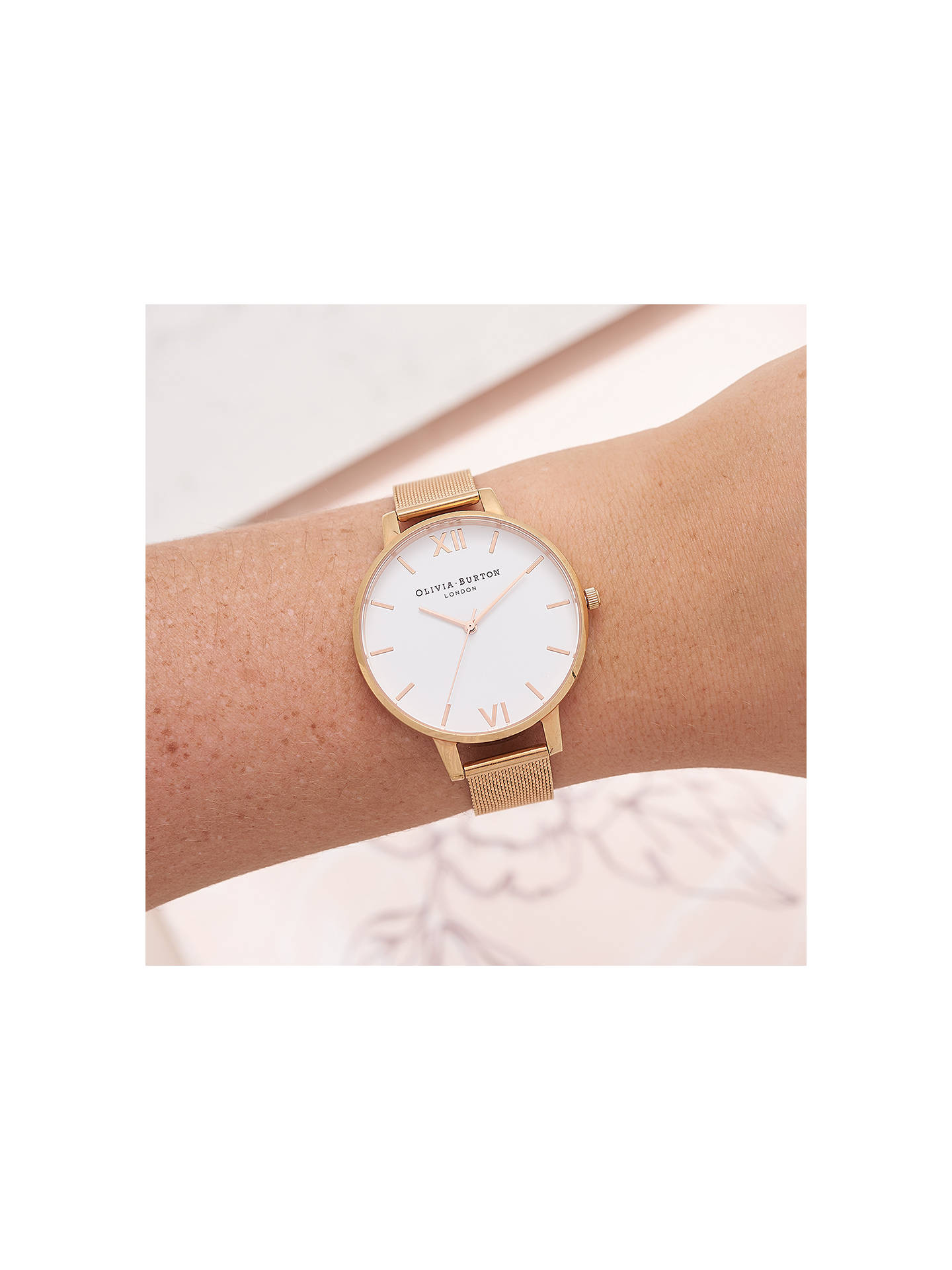 BuyOlivia Burton OB15BD79 Women's Big Dial Mesh Bracelet Strap Watch, Rose Gold/White OB15BD79 Online at johnlewis.com