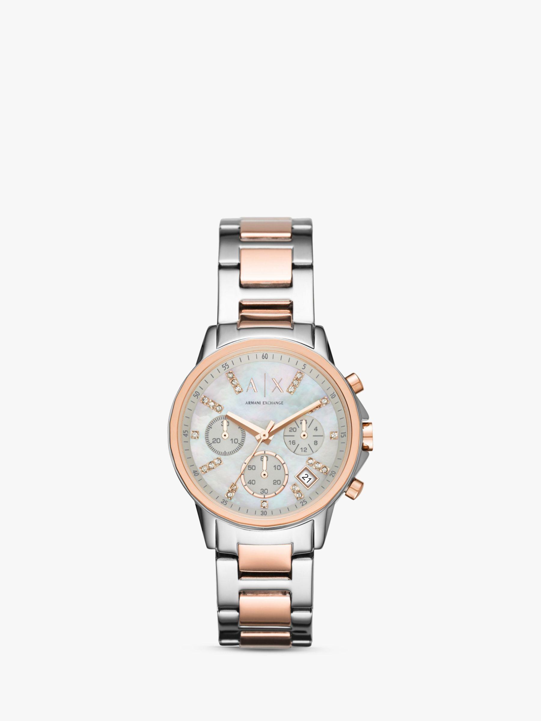 Armani Exchange Armani Exchange AX4331 Women's Chronograph Date Two Tone Bracelet Strap Watch, Silver/Rose Gold