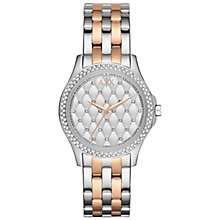 Buy Armani Exchange AX5249 Women's Bracelet Strap Watch, Silver/Rose Gold Online at johnlewis.com