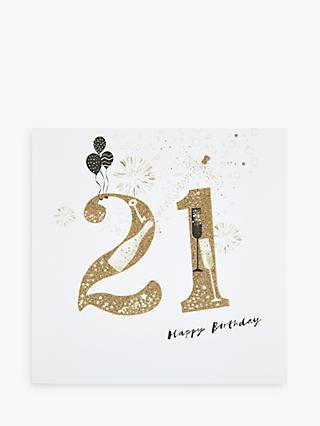 Woodmansterne Balloons Fireworks 21st Birthday Card