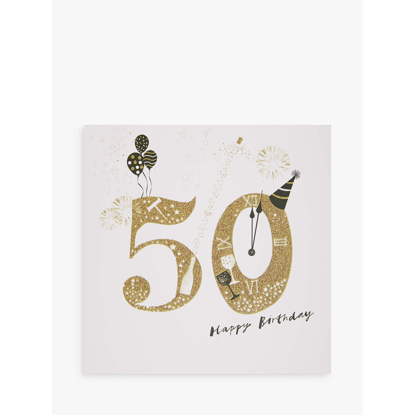 Woodmansterne party hat champagne 50th birthday card at john lewis buywoodmansterne party hat champagne 50th birthday card online at johnlewis bookmarktalkfo Gallery