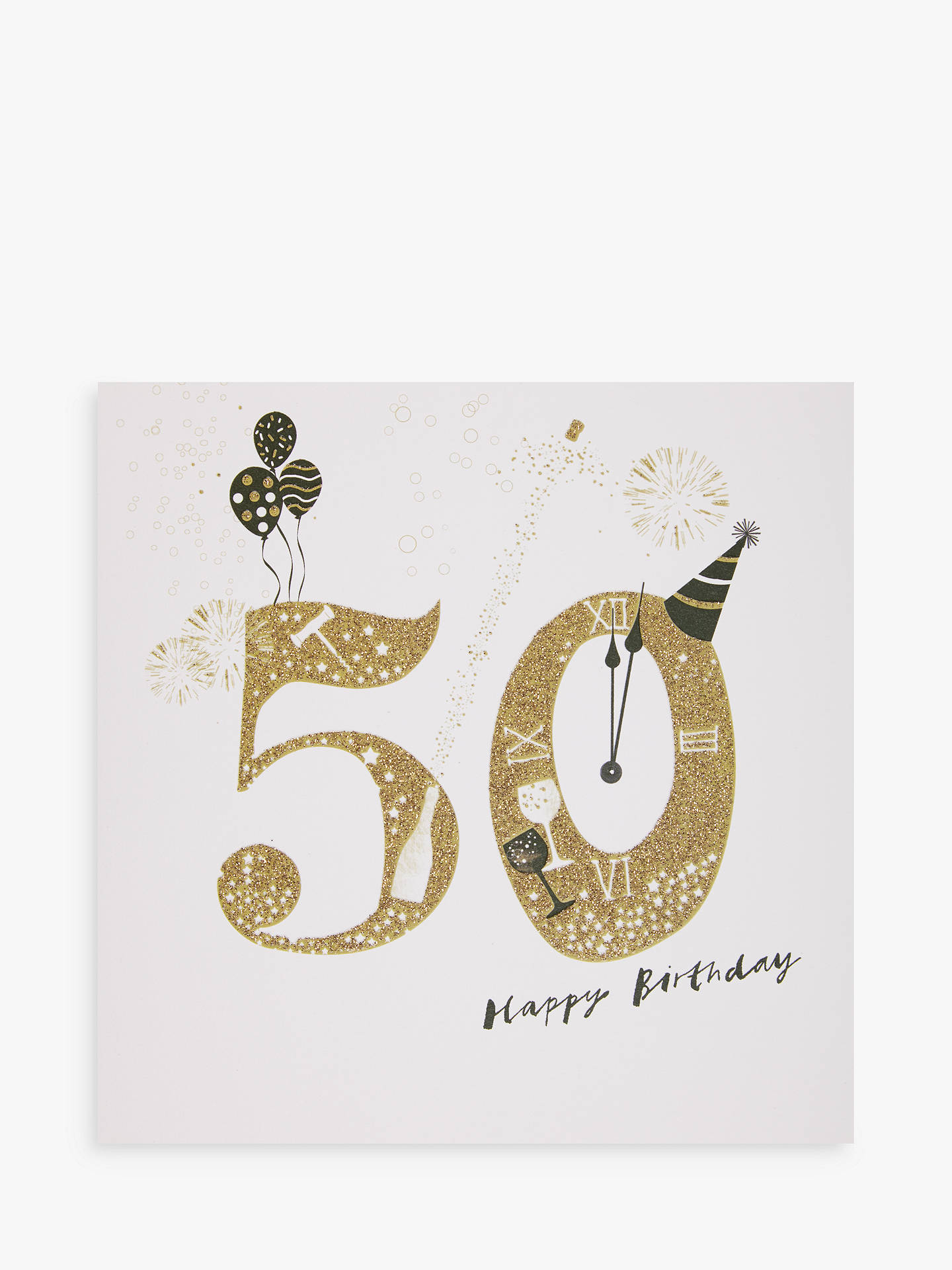 Buy Woodmansterne Party Hat Champagne 50th Birthday Card Online At Johnlewis